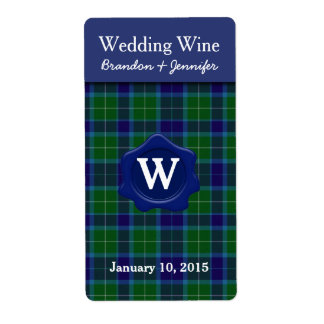 Clan Wallace Plaid Wedding Mini Wine Labels