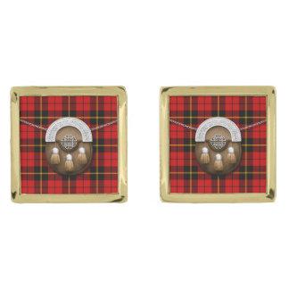 Clan Wallace Tartan And Sporran Gold Finish Cufflinks
