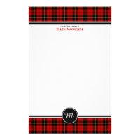 Clan Wallace Tartan Classic Red Plaid Monogram Stationery