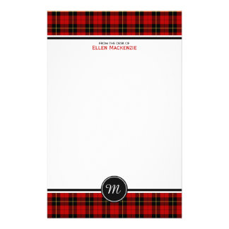 Clan Wallace Tartan Classic Red Plaid Monogram Stationery