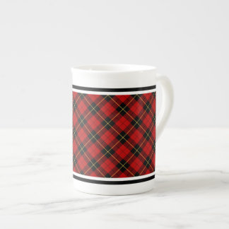 Clan Wallace Tartan Red and Black Plaid Tea Cup