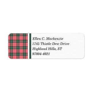 Clan Wallace Weathered Tartan Return Address Label