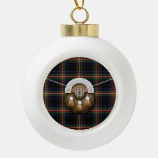 Clan Watt Tartan And Sporran Ceramic Ball Christmas Ornament