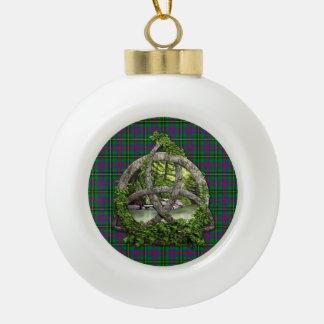 Clan Wood Tartan Celtic Trinity Ceramic Ball Christmas Ornament
