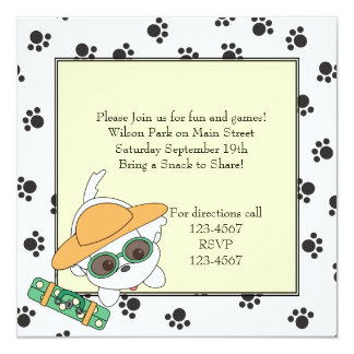 Clancey Goes on a Trip 5.25x5.25 Square Paper Invitation Card