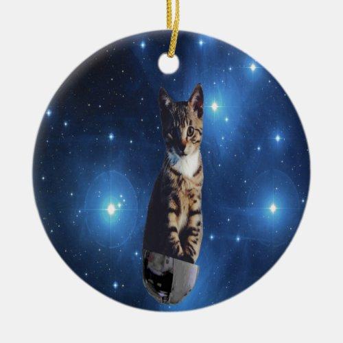 Clancy the Space Cat Ceramic Ornament
