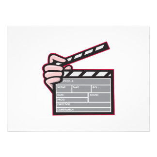 Clapboard Clapperboard Clapper Front Personalized Invites