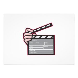 Clapboard Clapperboard Clapper Front Personalized Invite