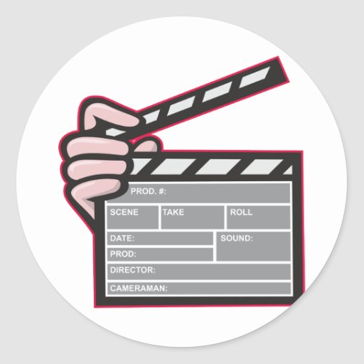 Clapboard Clapperboard Clapper Front Classic Round Sticker