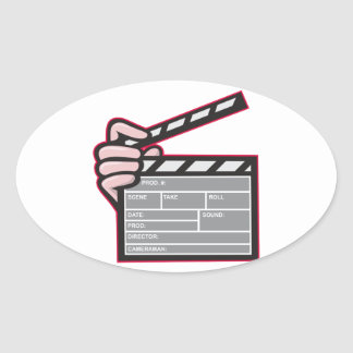 Clapboard Clapperboard Clapper Front Oval Stickers