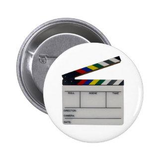 Clapboard movie filmmaker slate pinback buttons