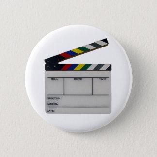 Clapboard movie filmmaker slate pinback button