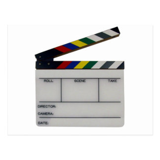 Clapboard movie filmmaker slate postcard