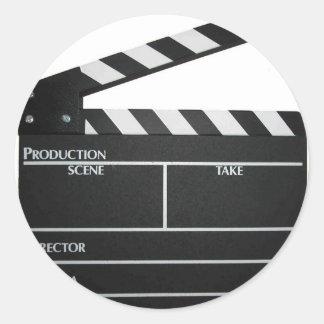 Clapboard movie slate clapper film classic round sticker