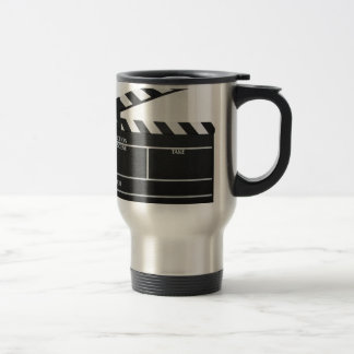 Clapboard movie slate clapper film 15 oz stainless steel travel mug