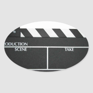Clapboard movie slate clapper film oval sticker
