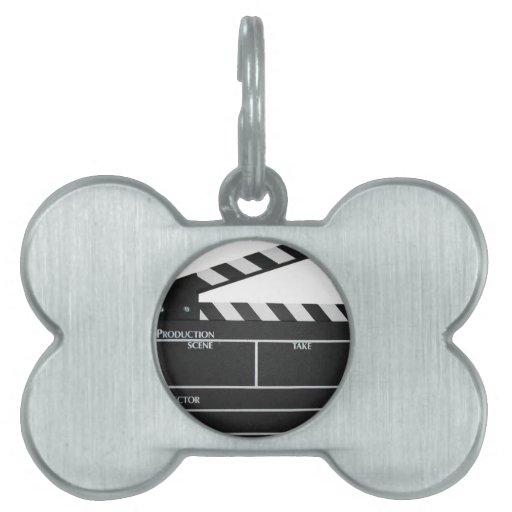Clapboard movie slate clapper film pet ID tag