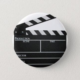 Clapboard movie slate clapper film pinback button