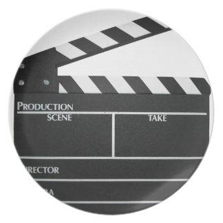 Clapboard movie slate clapper film dinner plate