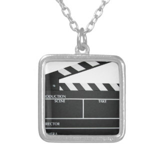 Clapboard movie slate clapper film silver plated necklace