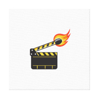 Clapper Board Match Stick On Fire Retro Canvas Print