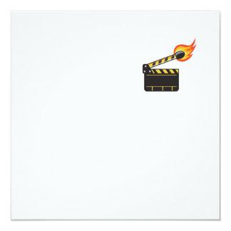 Clapper Board Match Stick On Fire Retro Card