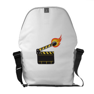 Clapper Board Match Stick On Fire Retro Courier Bag