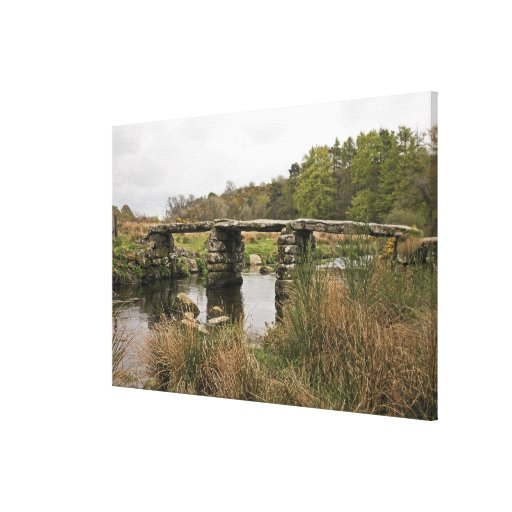 Clapper Bridge In Dartmoor National Park Canvas Print
