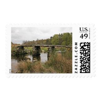 Clapper Bridge In Dartmoor National Park Stamp
