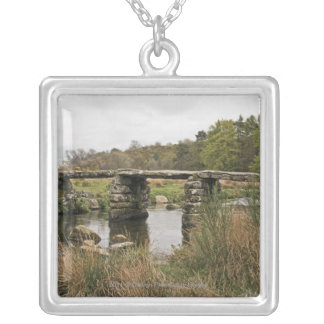 Clapper Bridge In Dartmoor National Park Silver Plated Necklace