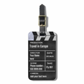 clapperboard cinema luggage tags