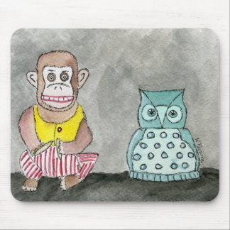Clapping Monkey and Night Owl Mouse Pad