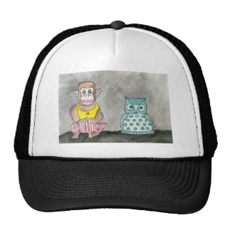 Clapping Monkey and Night Owl Trucker Hat