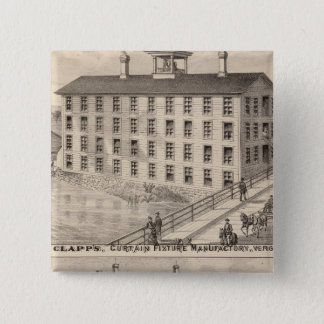 Clapp's curtain fixture manufactory pinback button