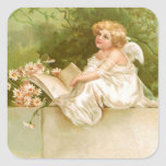 Clapsaddle: Ángel con el libro y las flores Calcomanía Cuadradas
