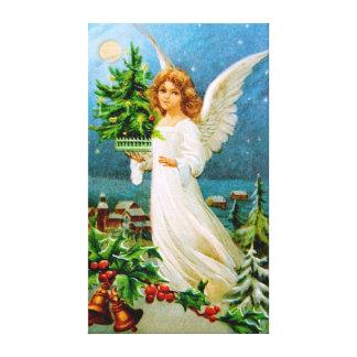Clapsaddle: Ángel del navidad con el árbol de abet Impresion En Lona