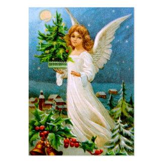 Clapsaddle: Ángel del navidad con el árbol de abet Plantillas De Tarjetas De Visita