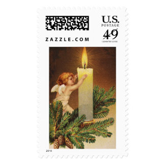 Clapsaddle: Angel on Fir Twig Postage Stamp