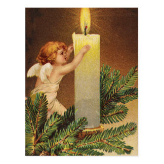 Clapsaddle: Angel on Fir Twig Postcard