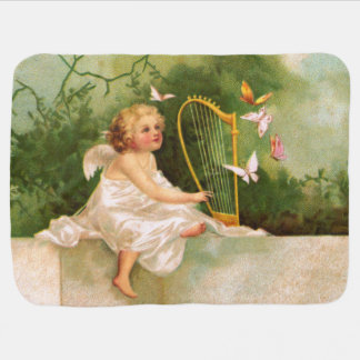Clapsaddle: Angel Playing Harp Baby Blanket