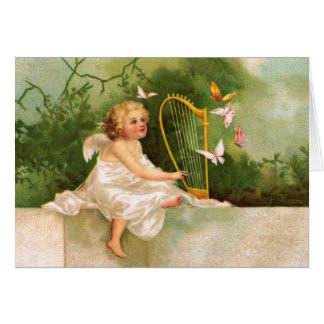 Clapsaddle: Angel Playing Harp Card