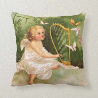 Clapsaddle: Angel Playing Harp Pillow