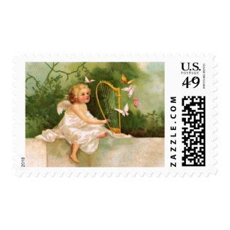 Clapsaddle: Angel Playing Harp Postage