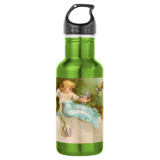 Clapsaddle: Angel Playing with Birds 18oz Water Bottle