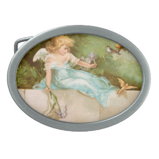 Clapsaddle Angel Playing with Birds Oval Belt Buckles