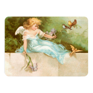 Clapsaddle: Angel Playing with Birds Card