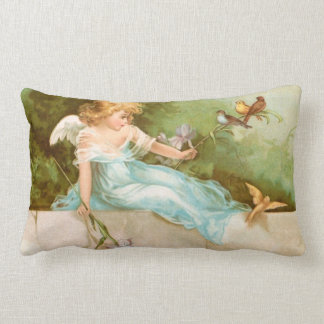 Clapsaddle: Angel Playing with Birds Throw Pillows