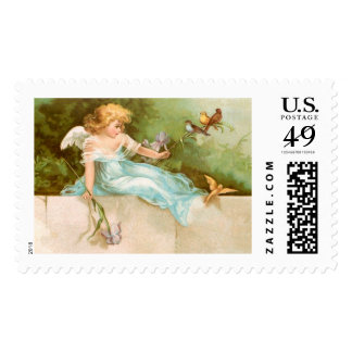 Clapsaddle: Angel Playing with Birds Postage