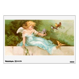 Clapsaddle: Angel Playing with Birds Wall Sticker