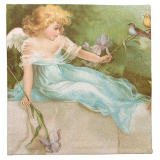 Clapsaddle: Ángel que juega con los pájaros Servilleta